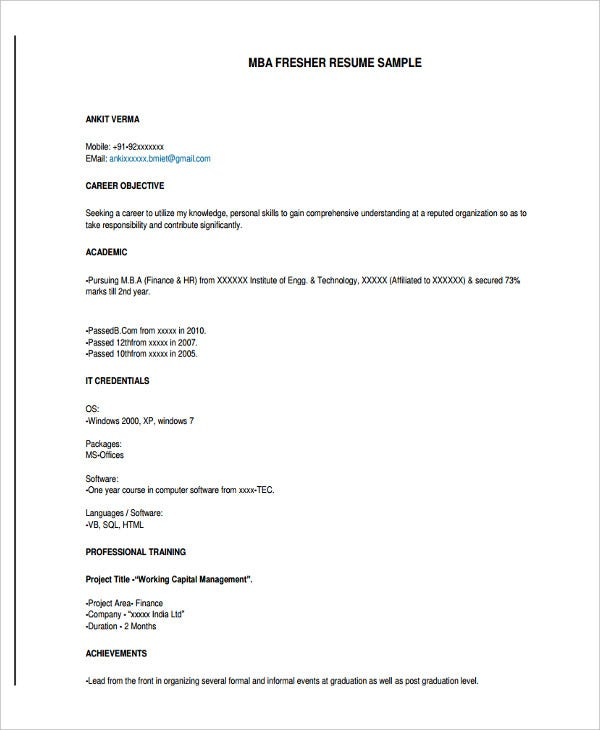 resume format objective in resume for fresh graduate