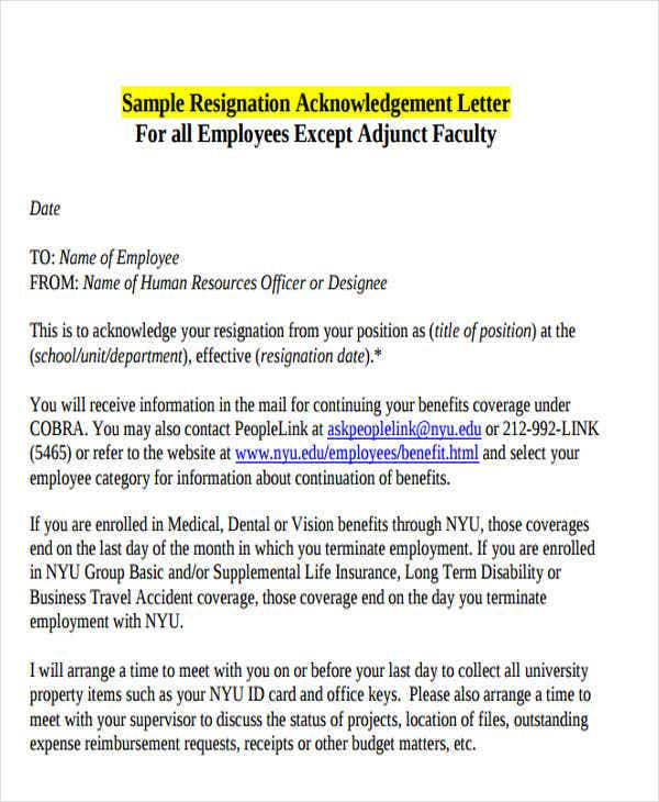 sample employee resignation acknowledgement letter