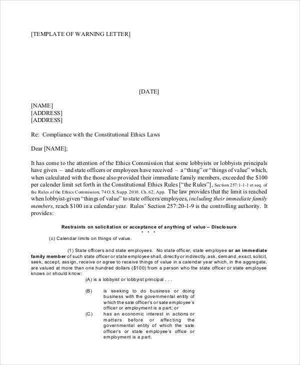 company written warning letter template