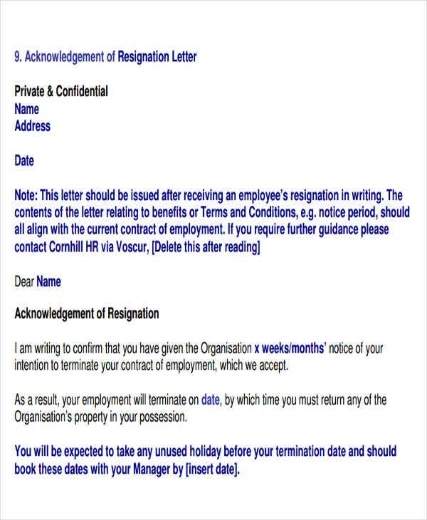 resignation acknowledgement letter in pdf