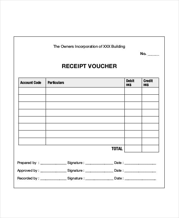 receipt voucher format template