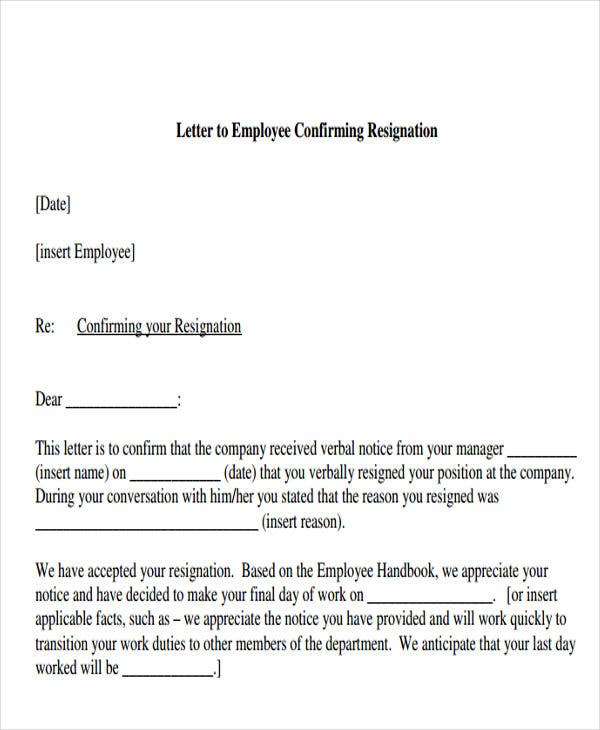 Resignation acknowledgement letter templates 7 free word pdf resignation confirmation acknowledgement letter template spiritdancerdesigns Gallery