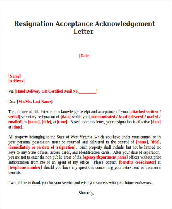 Resignation Acknowledgement Letter Templates   Free Word Pdf