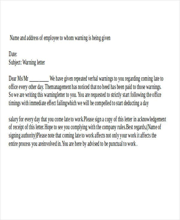 staff late warning letter template