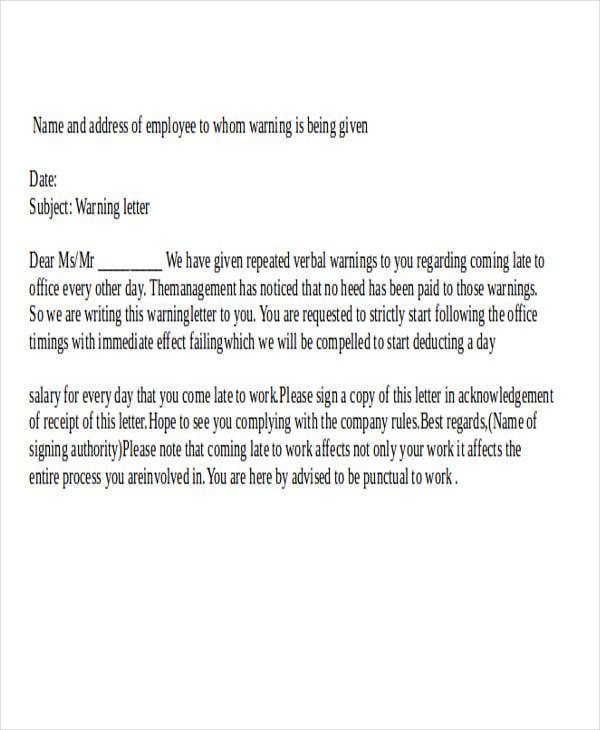 verbal warning letter template