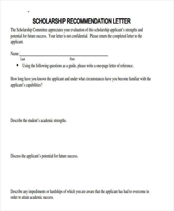 scholarship reference letter templates