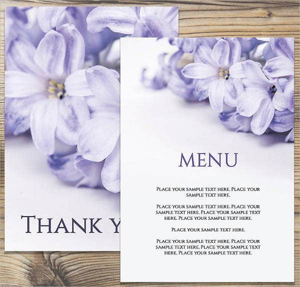 Wedding Anniversary Menu Card