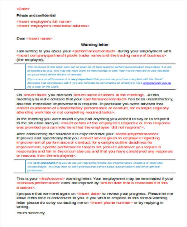 11 late warning letter templates pdf doc free premium templates late for work warning letter example maxwellsz