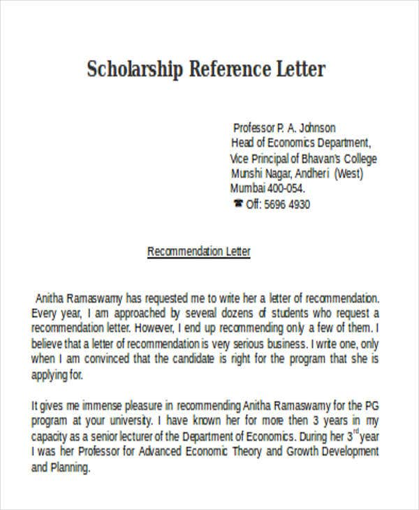 scholarship reference letter from professor doc