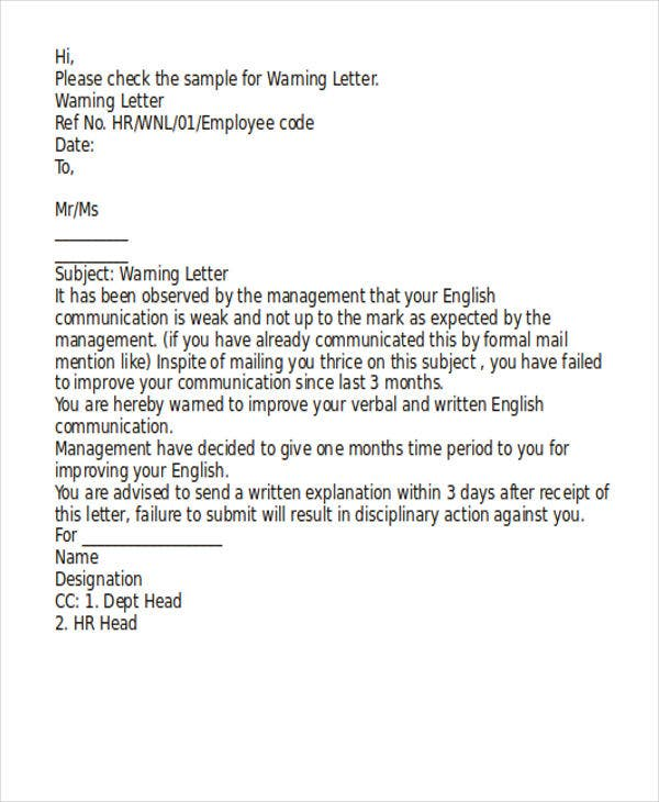 How A Write A Warning Letter For Employee Conduct  Resume To Get Hired