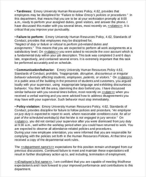 10  performance warning letter template
