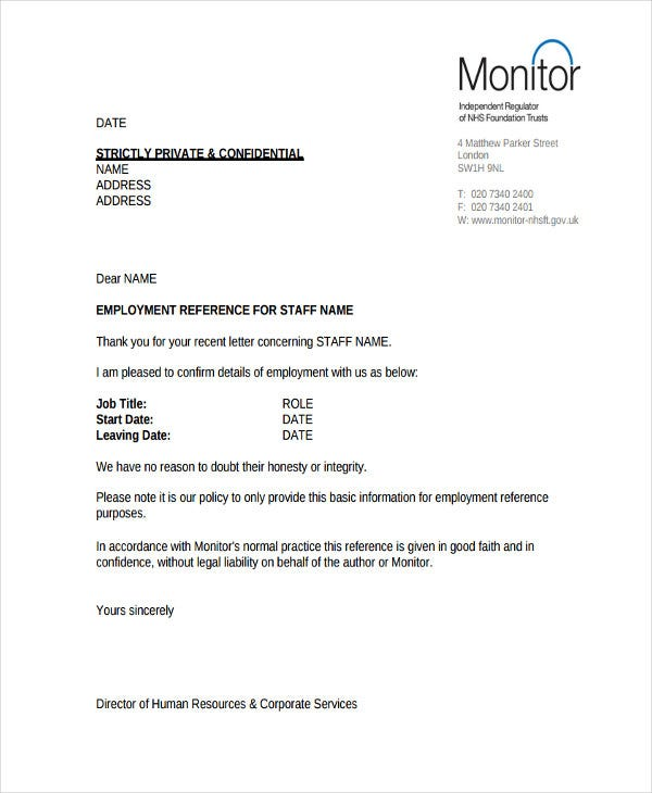 6 hr reference letter templates 6 free word pdf format download