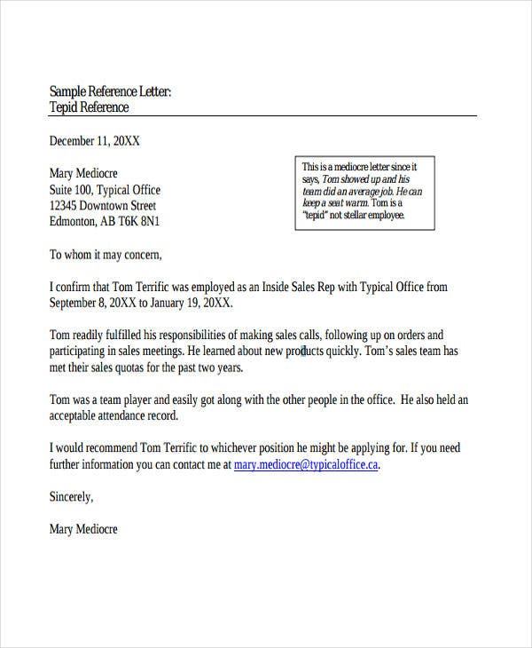 Professional Letter Of Recommendation For Employment Pdf