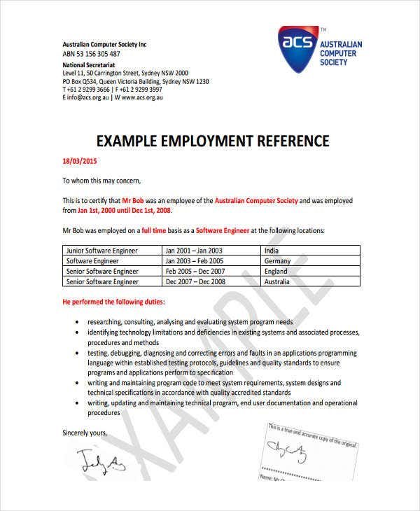 hr employment reference letter template