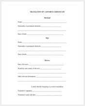 translation-of-a-divorce-certificate-template