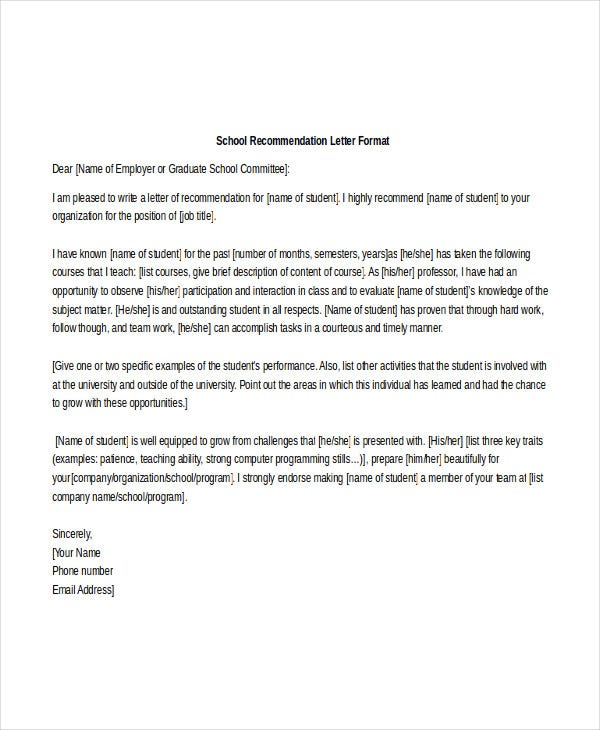 School Reference Letter Template   Free Word Pdf Documents