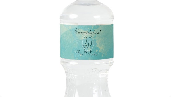 watercolor wedding anniversary water bottle label