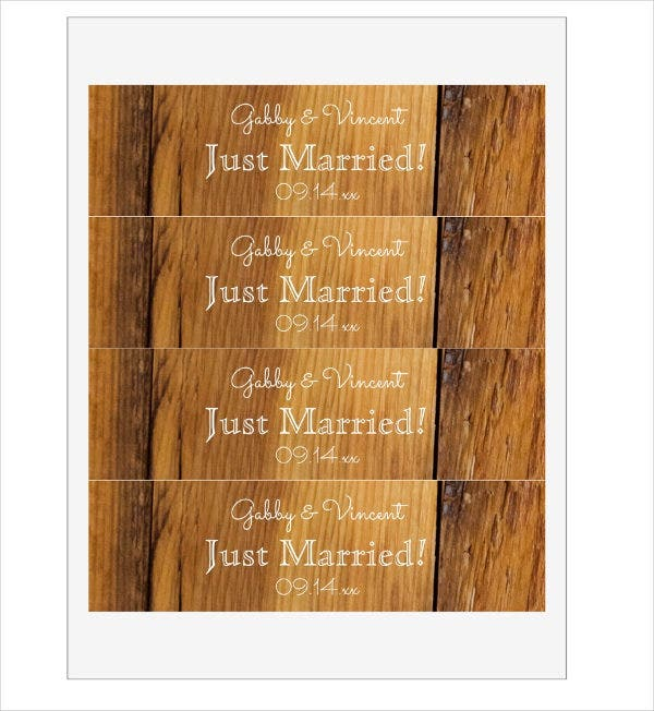 rustic wedding water bottle label