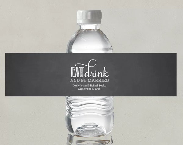 free wedding water bottle label