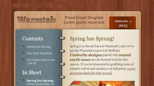 html newsletter layout template
