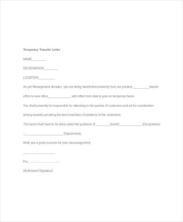 Employee Transfer Letter Template - 8+ Free Word Format Download