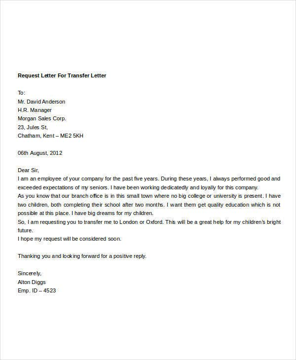 Transfer Request Letter Employee Transfer Letter Example