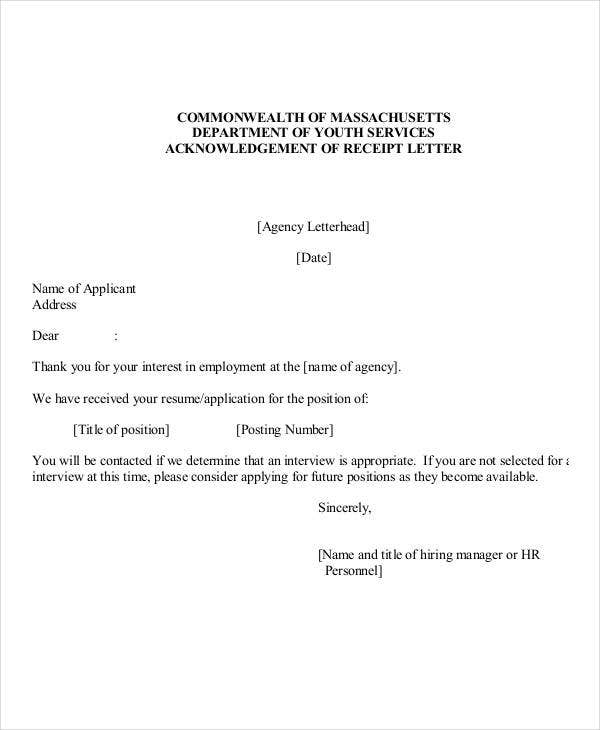 employee application acknowledgement letter template
