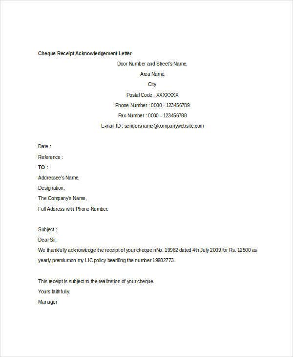 10 Receipt Acknowledgement Letter Templates Free Premium Templates