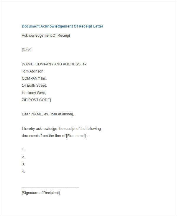 Document Receipt Acknowledgement Letter Example  Acknowledgement Receipt Sample