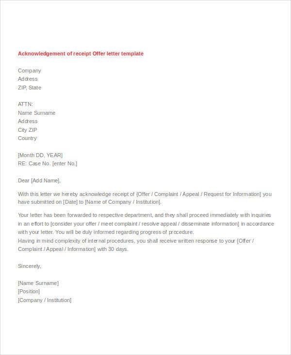 offer receipt acknowledgement letter template