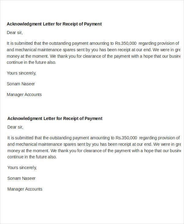 payment receipt acknowledgement letter sample
