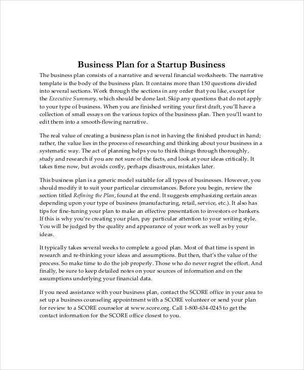 basic startup business plan template