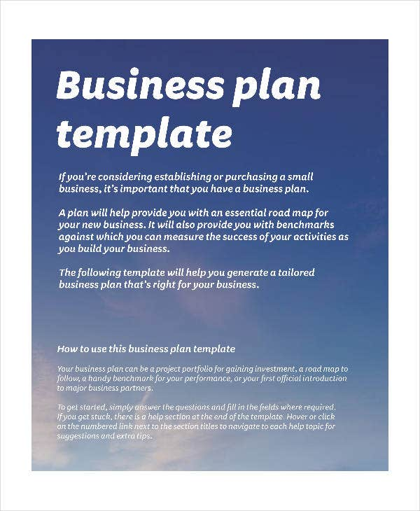 Simple Business Plan Template 14 Free Word Excel Pdf Format One