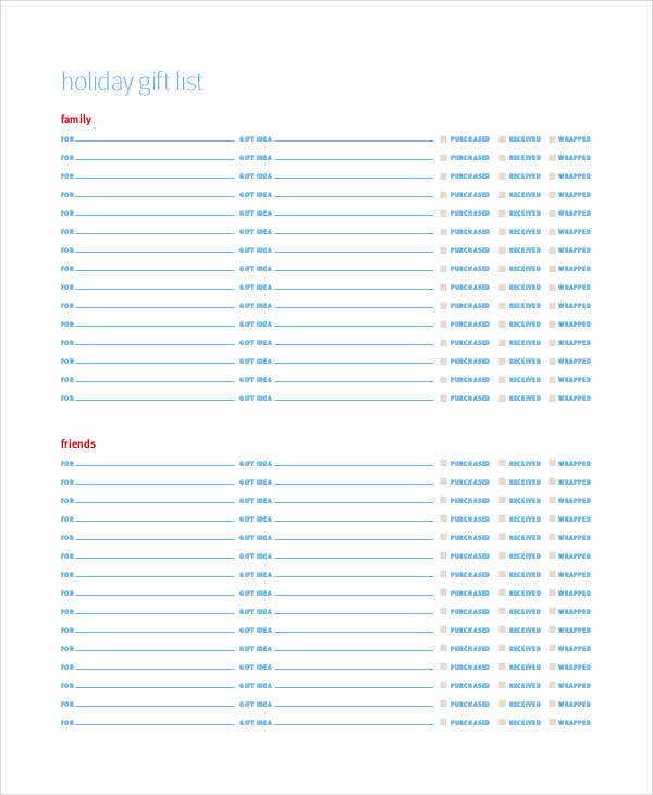 holiday family gift list template