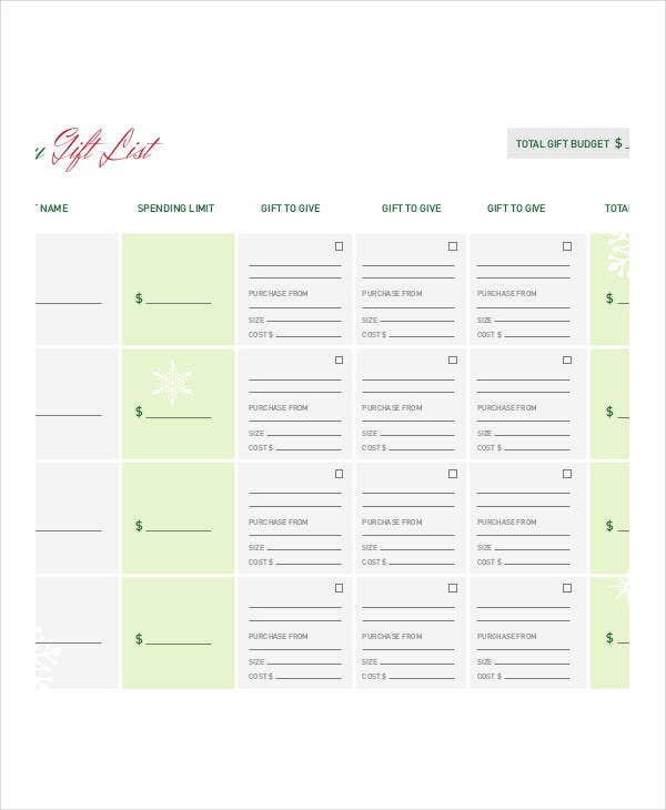 holiday gift budget list template