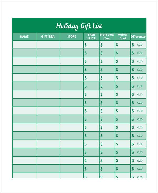 printable holiday gift list template