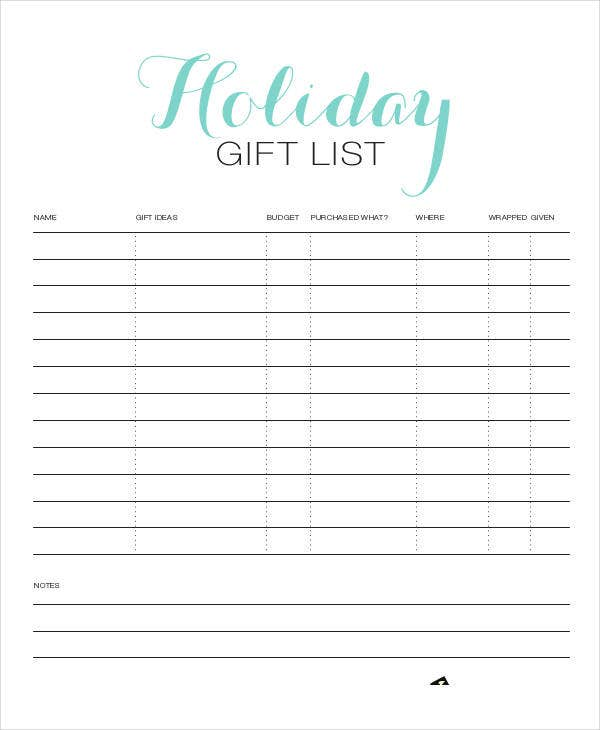 simple holiday gift list template