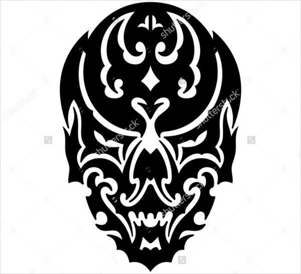 tribal skull illustration