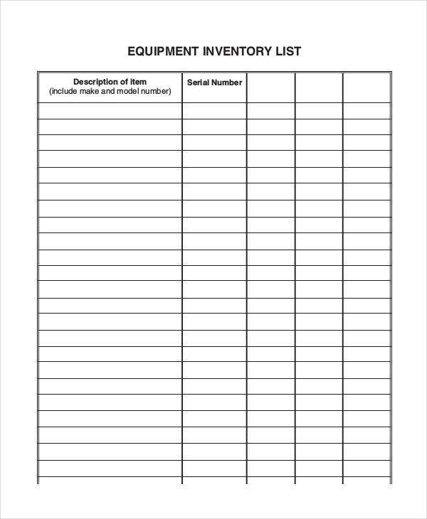 equipment inventory list templates 9 free word pdf format