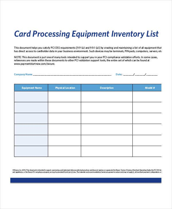 Equipment Inventory List Templates 9 Free Word PDF Format – Inventory Card Template