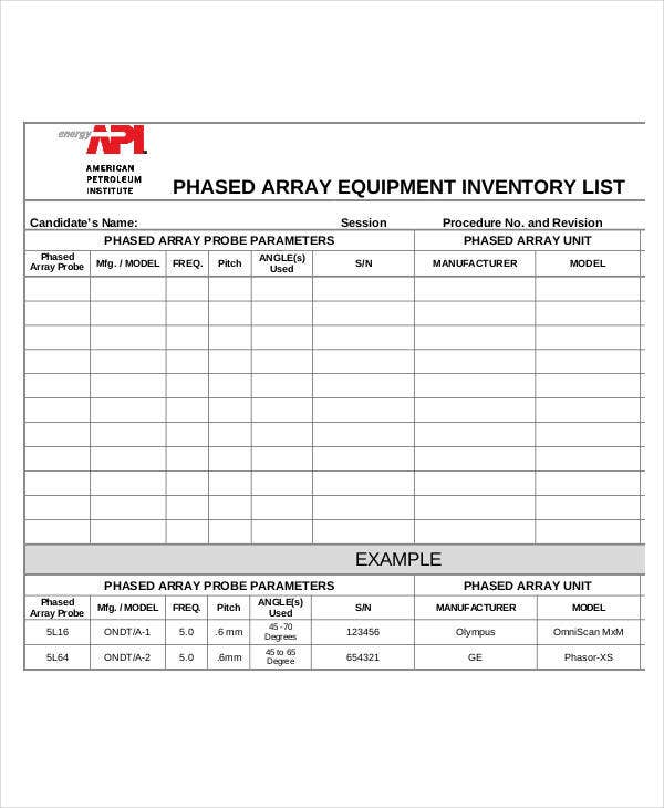 simple equipment inventory list template