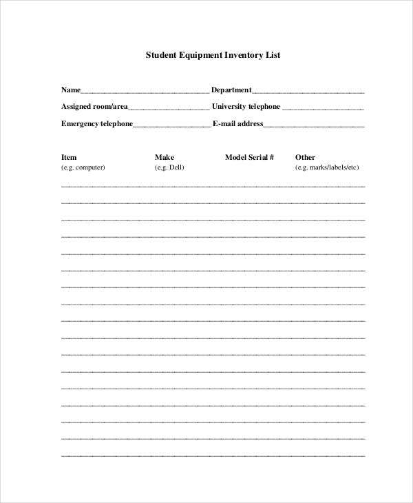 Equipment Inventory List Templates 9 Free Word PDF Format – Inventory List