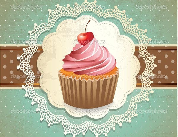 Vintage Cupcake Illustration