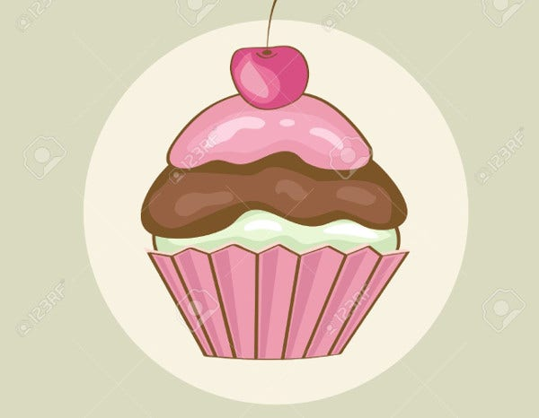 Birthday Cupcake Illustration