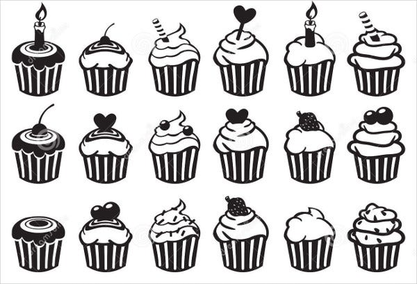 Black and White Cupcake Illustration