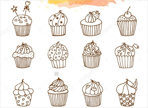 Hand Drawn Cupcake Illustration