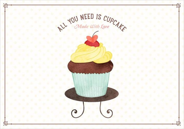 Watercolor Cupcake Illustration