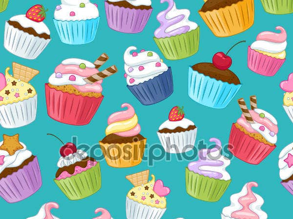 Colorful Cupcakes Illustration