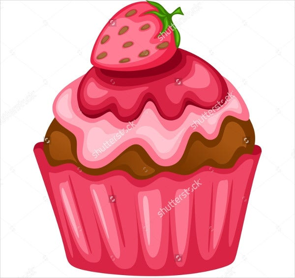 Strawberry Cupcake Illustration