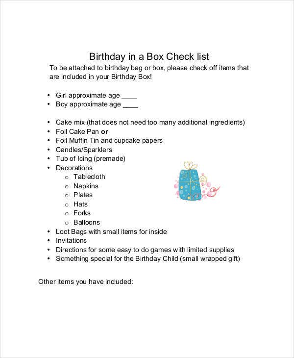 birthday party checklist example